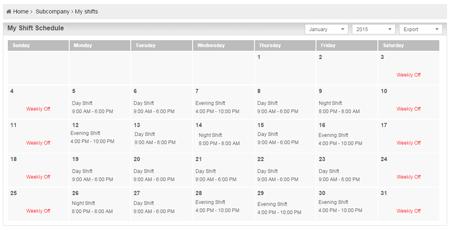 Check Shift Schedule online