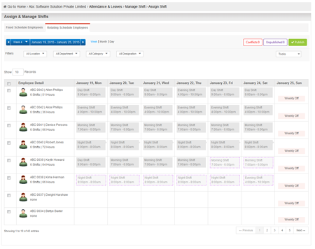 Manage Shifts For Fixed & Rotational Schedule